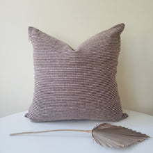 Load image into Gallery viewer, Brown & Cream Striped Pillow