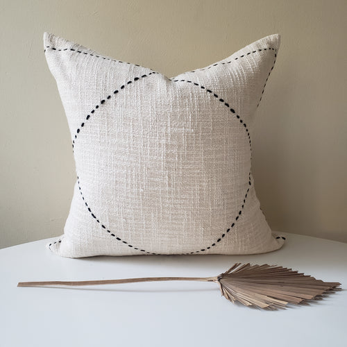 Cream & Black Striped Pillow