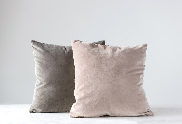 Grey Moon Velvet Pillow