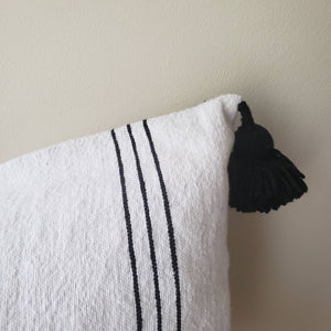 Moroccan Pompom Pillow~Pom pom pillow~ boho pillow~ striped pillow~ Cotton Pillow~Sabra Pillow