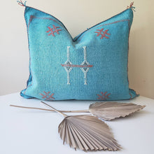 Load image into Gallery viewer, Caribbean Blue Sabra Silk Pillow