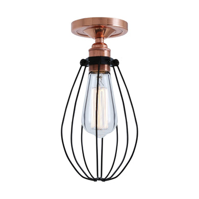 Abuja Flush Cage Ceiling Light - Ceiling Lights from RETROLIGHT. Polished Copper / Black Cage. Made by Mullan Lighting.