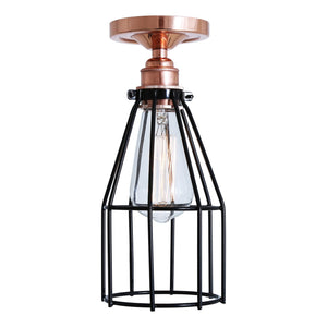 Lima Flush Cage Ceiling Light - Ceiling Lights from RETROLIGHT. Made by Mullan Lighting.