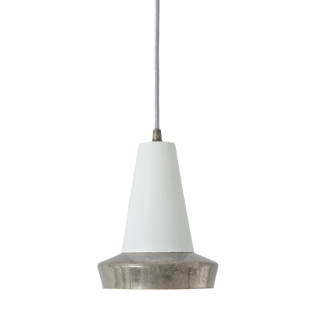 Malabo Antique Silver & White Pendant - Pendant Lights from RETROLIGHT. Made by Mullan Lighting.