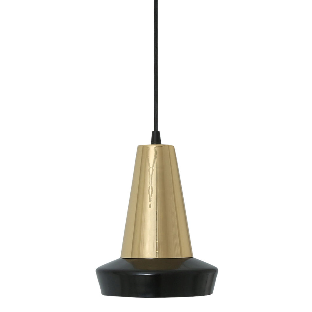 Malabo Matte Black & Polished Brass Pendant - Pendant Lights from RETROLIGHT. Made by Mullan Lighting.
