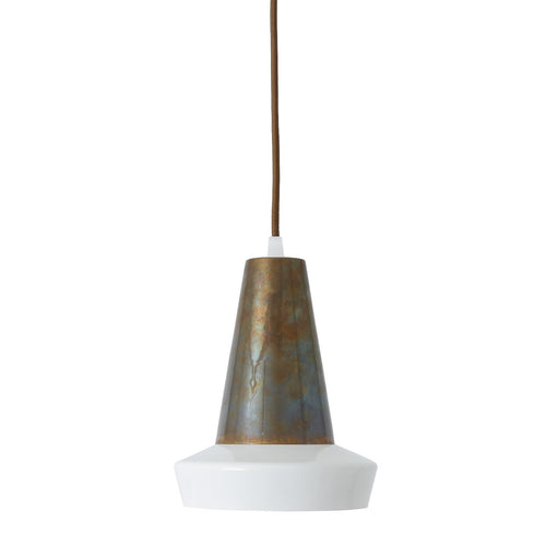 Malabo White & Antique Brass Pendant - Pendant Lights from RETROLIGHT. Made by Mullan Lighting.