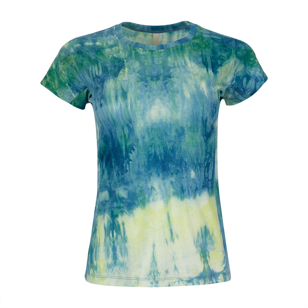 Ladies T-shirt - Green and Yellow Tie-dye
