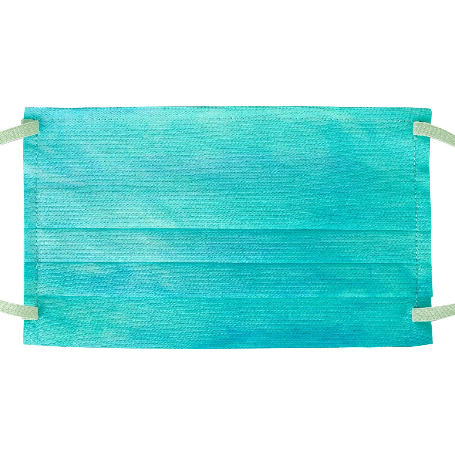 Tie-dye in turquoise blue + green, with light green elastics