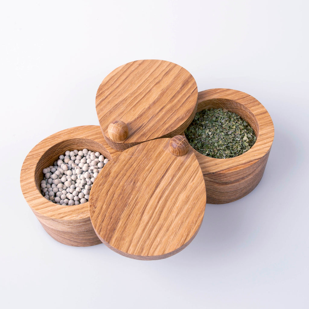 Double wood container for spices