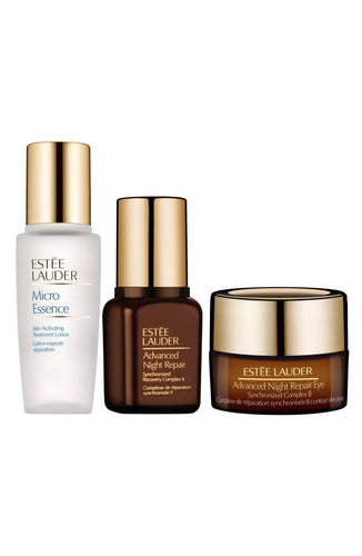 Estee Lauder Repair + Renew Holiday Gift Set 3Pcs Micro Essence Lotion, Advanced Night Repair Face Serum and Eye