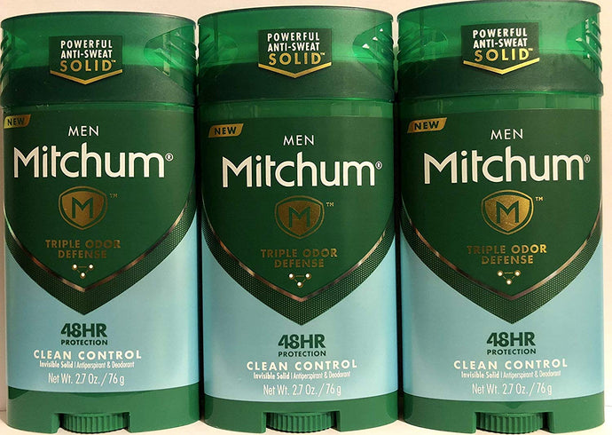 MITCHUM Advanced Control Invisible Solid Clean Control For Men, 2.7 Oz (Pack of 3)