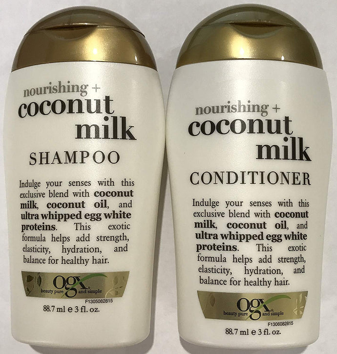 Ogx Nourishing Coconut Milk Shampoo & Conditioner Travel Size - 3 Oz. Each