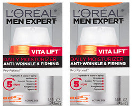 L'Oreal Paris Men's Expert Vita Lift Anti-Wrinkle & Firming Moisturizer 1.6 fl oz (Pack of 2) x 100