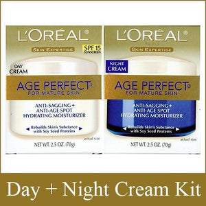 L'Oreal Paris Skin Expertise Age Perfect for Mature Skin, Day Cream SPF 15 + Night Cream, 2.5 Ounce Each x 96