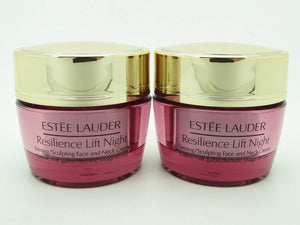 Lot 2 x Estee Lauder Resilience Lift Night Face & Neck Creme 0.5 oz each x 100