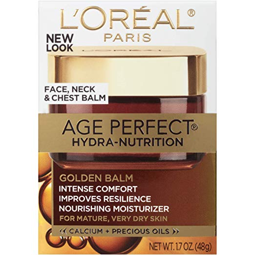 L'Oréal Paris Skincare Age Perfect Hydra-Nutrition Golden Balm Moisturizer for Face, Neck and Chest, Formulated with Calcium and Precious Oils, 1.7 oz. x 250