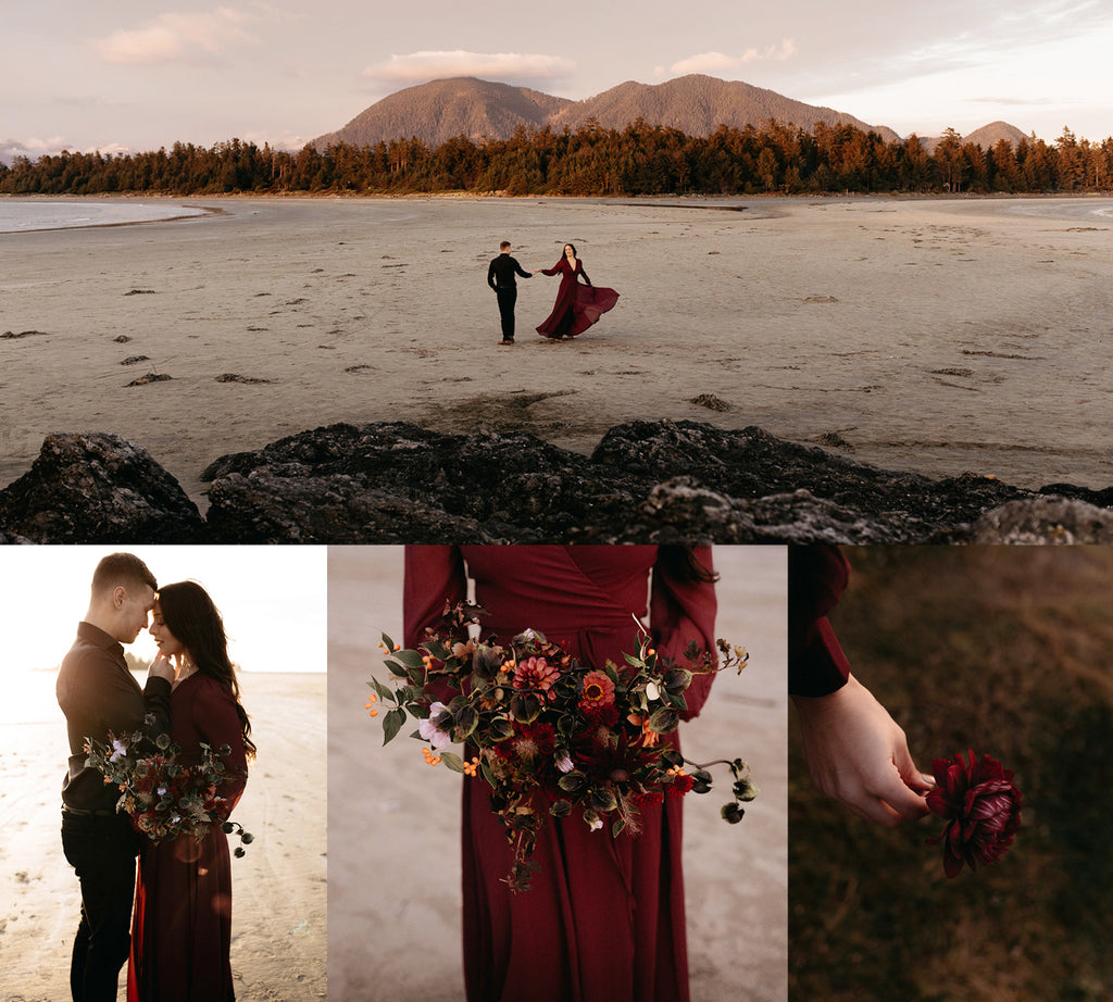 © Freya Photography - Photos of dark red moody elopement/wedding in Toffino, Vancouver Island, BC.