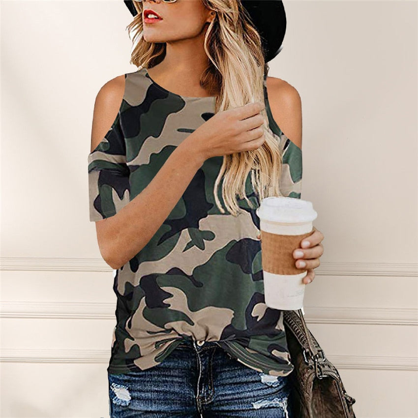 Camouflage T Shirt Hollow Out Tees