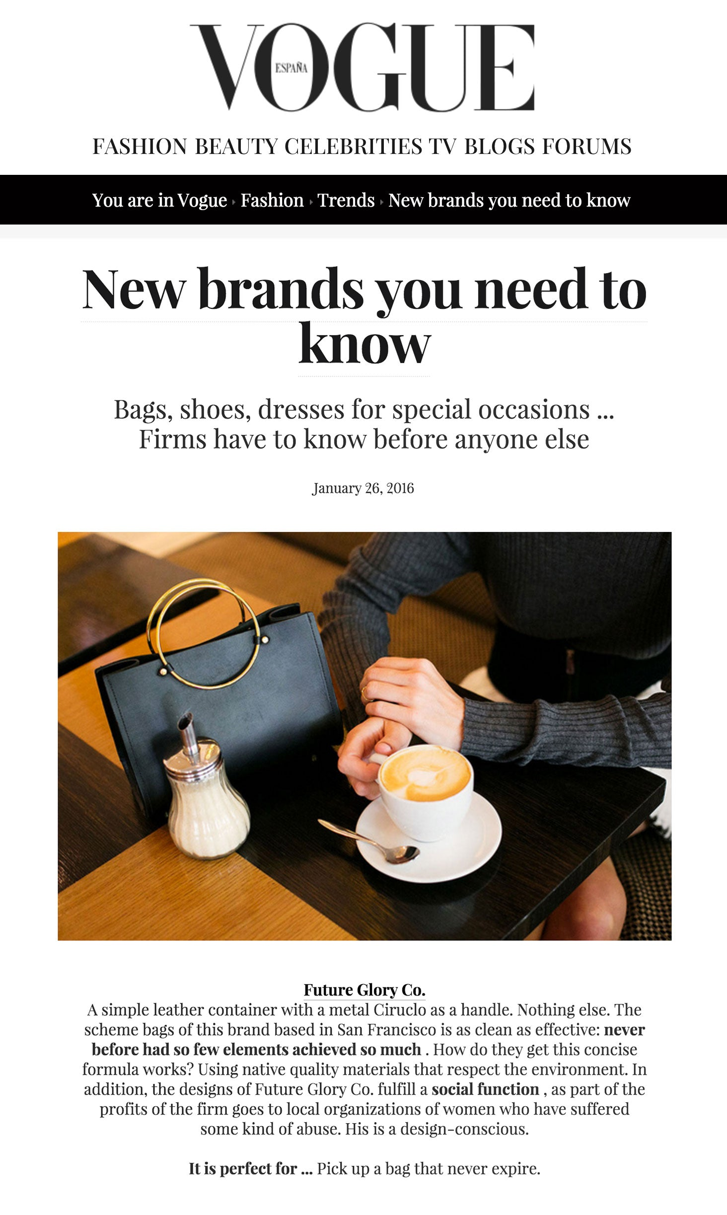Vogue Spain / New Brands You Need to Know / Future Glory Co Handbags
