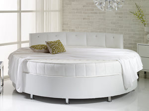 Verve White Round Bed with Pearl Headboard