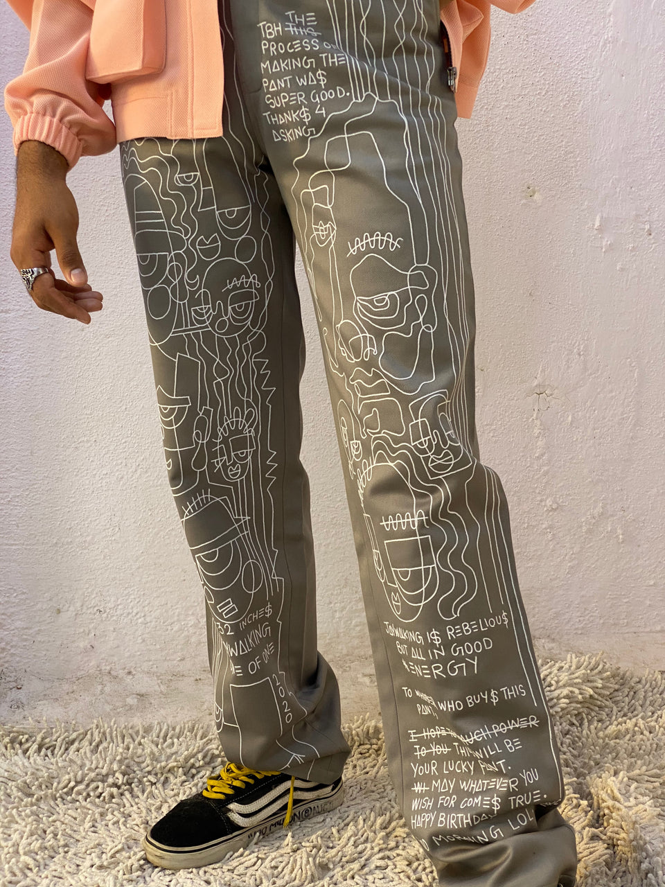 HAND EMBROIDERED PANTS^ ONE OF ONE