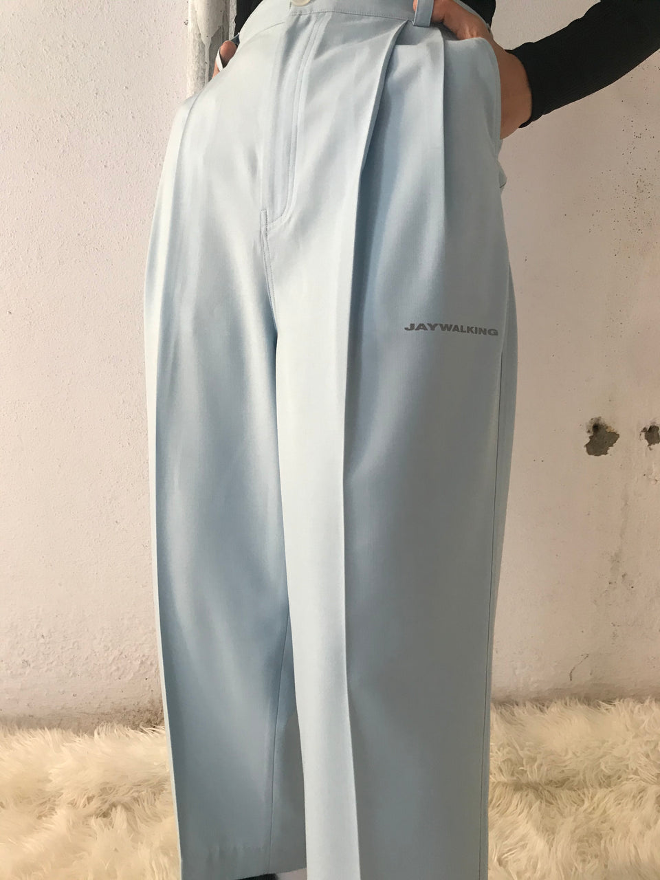 SKY BLUE PLEATED PANTS [UNISEX]