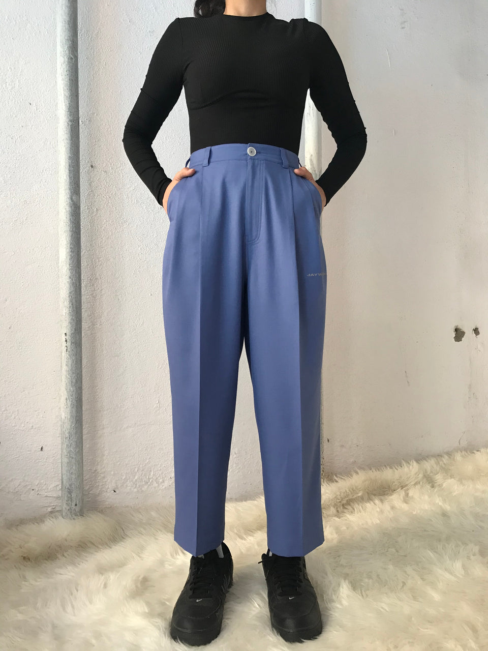 CORNFLOWER BLUE PLEATED PANTS [UNISEX]