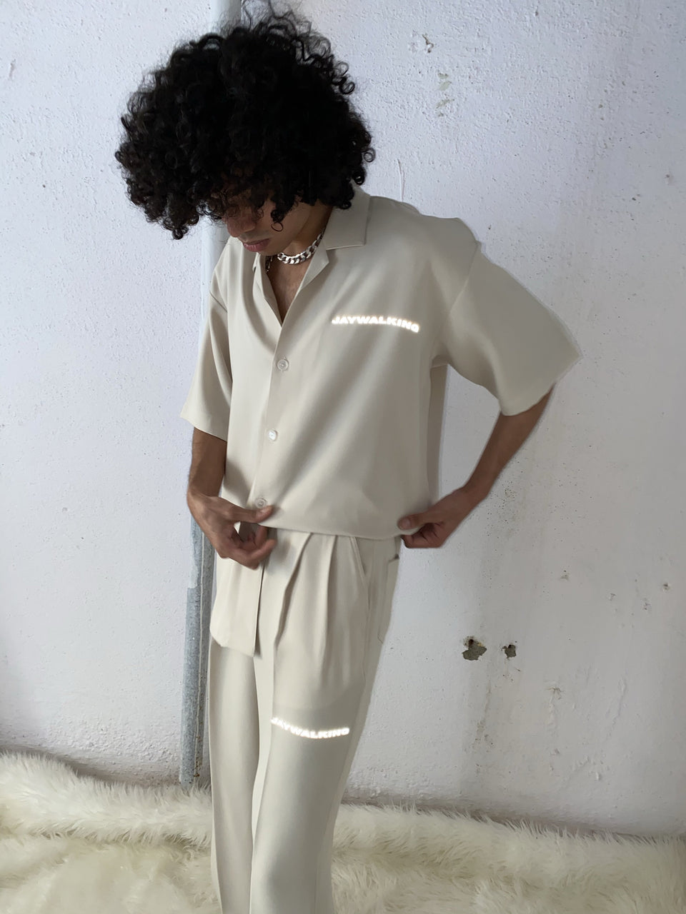 CREAM PLEATED PANTS [UNISEX]