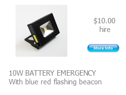 hire flood battery operated blue red beacon