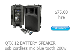 hire battery powered speakers qtx