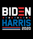 "Logo with stars that says ""Biden Harris 2020"" in red, white, and blue lettering"