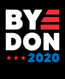 "black T-shirt that says ""bye Don 2020"" in red, white, and blue"