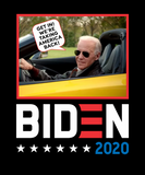 "black T-shirt featuring Joe Biden in a convertible saying ""get in! We are taking America back!"""
