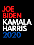 "Logo that says ""Joe Biden Kamala Harris 2020"" in red, white, and blue bold lettering"