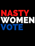 "black T-shirt that says ""nasty women vote"" in red white and blue lettering"