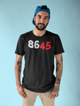 "Men wearing black T-shirt that says ""8645"""