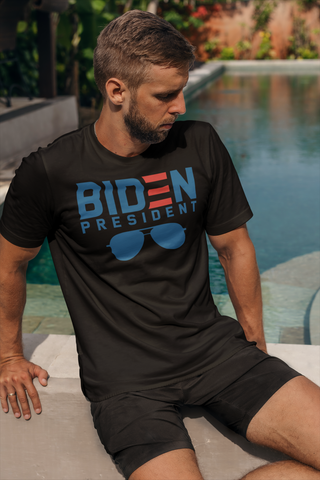 "Men wearing black T-shirt that says ""Biden president"" with clip art of aviator sunglasses"