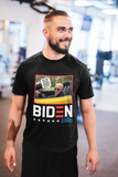 "Man wearing black T-shirt featuring Joe Biden in a convertible saying ""get in! We are taking America back!"""
