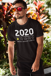 "Men wearing black T-shirt that says ""2020 1 star, very bad would not recommend"""