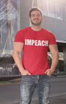 Man wearing red T-shirt that says IMPEACH in bold white letters