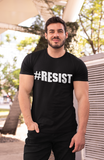 Man wearing black t-shirt that says #resist in bold white lettering