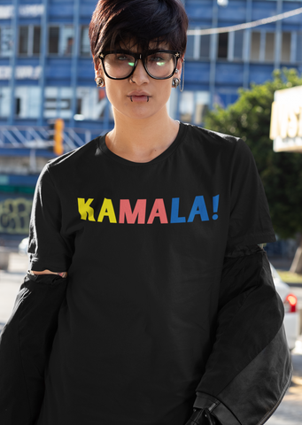 "Women wearing black T-shirt that says ""Kamala!"" In multiple colors"