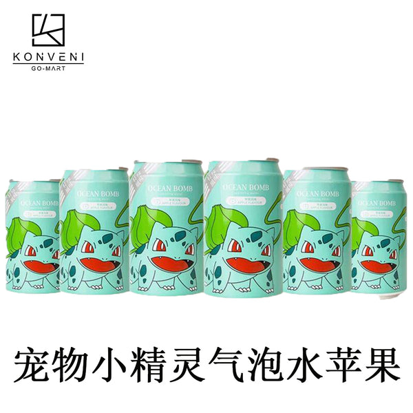 Ocean Bomb Pokemon Sparkling Water (Apple Flavor) 330ml - KonveniGomart