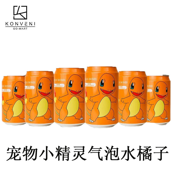 Ocean Bomb Pokemon Sparkling Water (Orange Flavor) 330ml - KonveniGomart
