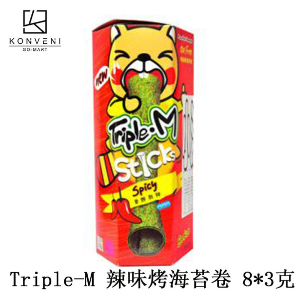 Triple M Sticks Spicy Roasted Seaweed Sticks (8*3g) - KonveniGomart