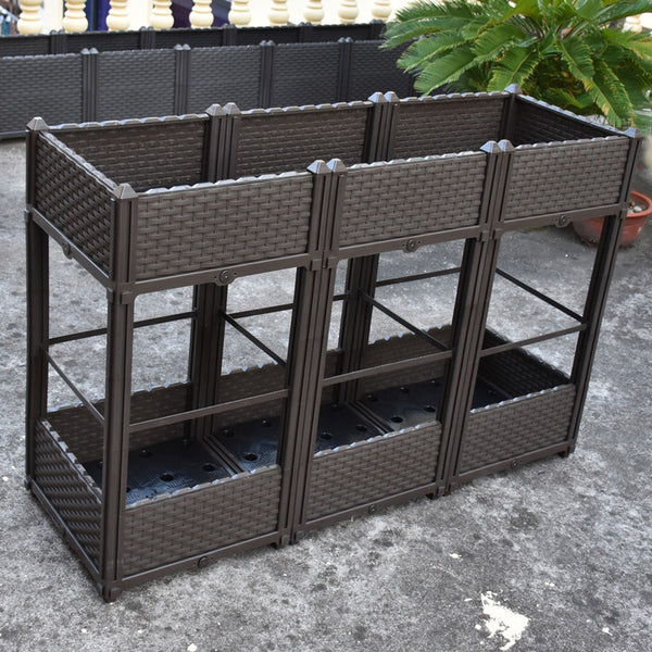 Dou-Layer Planter Box with Wheel 15.7*15.7*32.3in