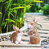 Garden decoration crafts, Pair of medium brown rabbits