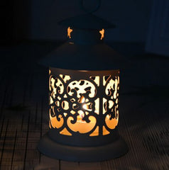 Hand made Round Metal Moroccan Votive Candle,White Color