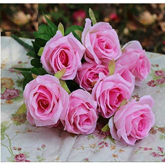 Artificial Flower Rose,10heads,Pink