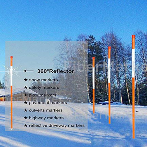 Snow Marker, 5/16in*48in, Orange, 25pack